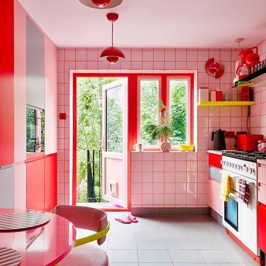 pink and red modern kitchen