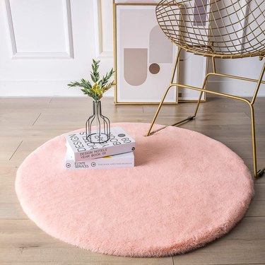 thick faux fur round rug