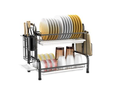 dish rack with dishes