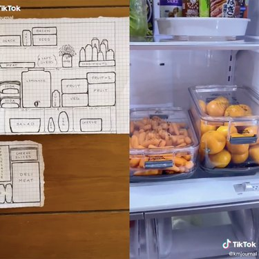 two tiktok screenshots, one of a drawing and another of the inside of a frdige