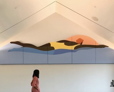 Large wall artwork of swimmer