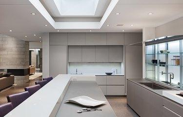 modern two-tier kitchen island in minimalist kitchen