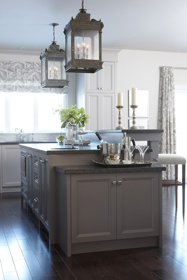 two-tier kitchen island in dark colors with third tier