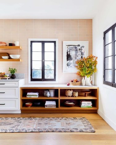Ginny MacDonald Design kitchen with open cabinets