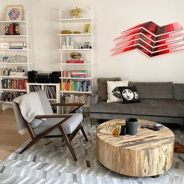 Decorated Living Room with Couch, Chair, and Table