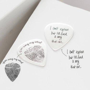 engraved guitar pick