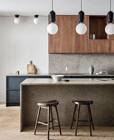 modern Scandinavian kitchen with oak cabinets