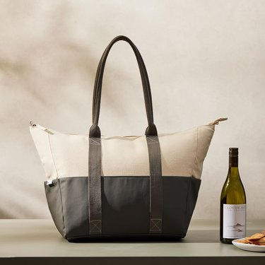 picnic tote and wine bottle