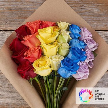 the bouqs co. rainbow roses pride bouquet