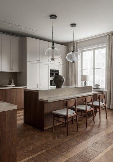 minimalist kitchen with two-tier kitchen island