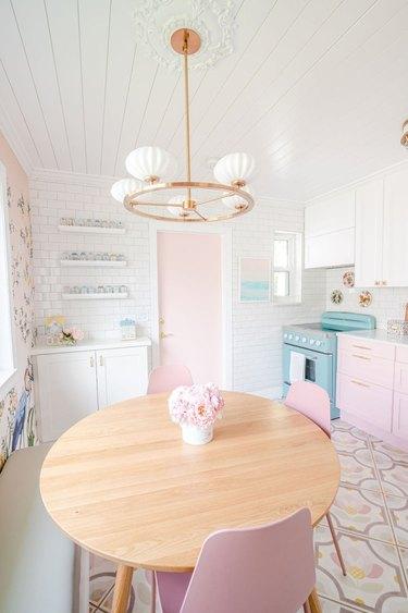 wallpaper mural in pink kitchen