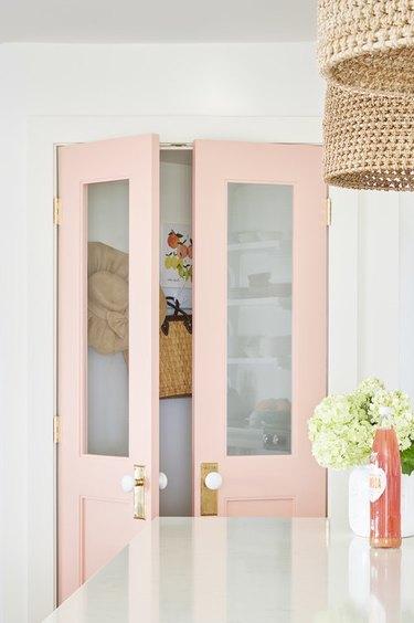 pink kitchen pantry doors