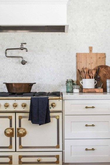 concrete countertops in industrial farmhouse kitchen
