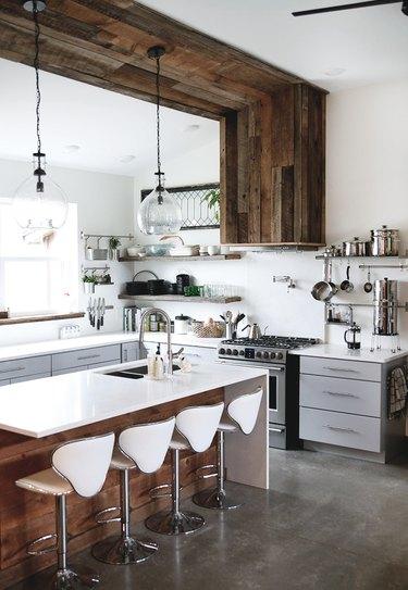 reclaimed wood hood in industrial farmhouse kitchen