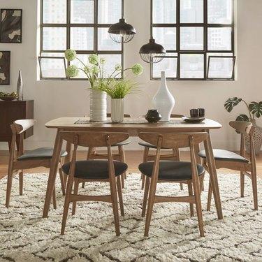 iNSPIRE Q Norwegian Danish Modern Chestnut Tapered Dining Set