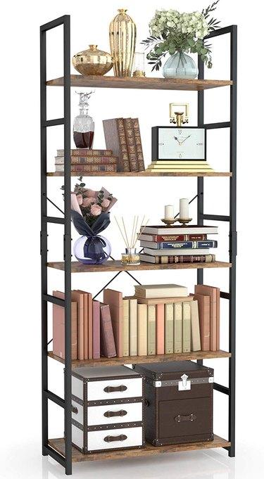 Bookshelf with trinkets and books