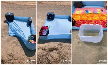 fitted sheet beach setup with water bucket
