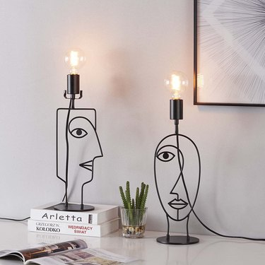 face shaped metal table lamps