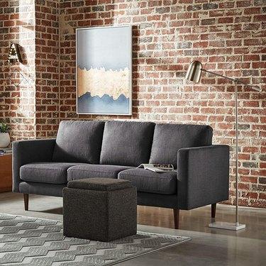 Dark grey 80-inch couch