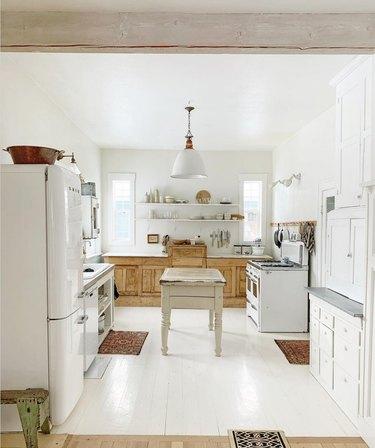 white vintage industrial farmhouse kitchen