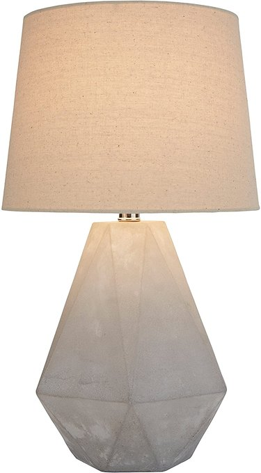 midcentury table lamp with faceted concrete base