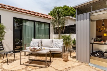california backyard lounge and storage area