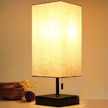 farmhouse table lamp with linen shade and USB ports
