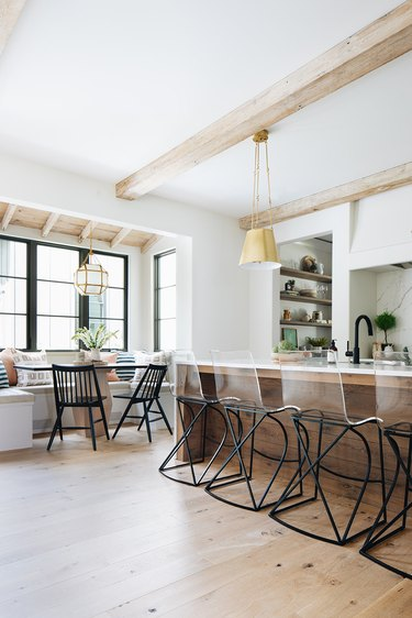 industrial farmhouse kitchen with modern bar stools