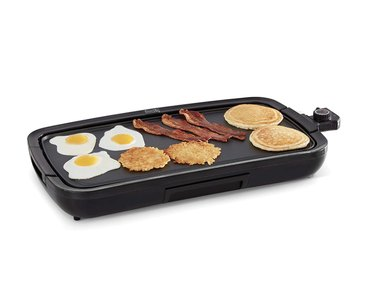 Indoor griddle with food on it