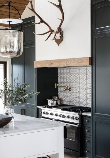 rustic kitchen with antler decor