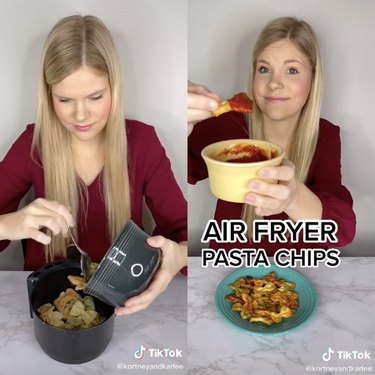 two tiktok screenshots showing a woman putting pastas into air fryer and then holding a bowl with pasta chips and sauce with another plate near her