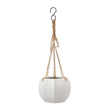 white ceramic hanging planter