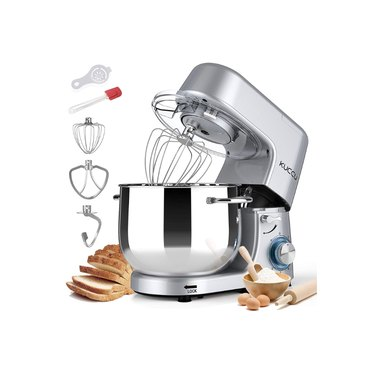 Stand mixer in silver with ingredients