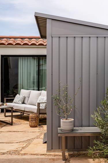 storage shed with plant