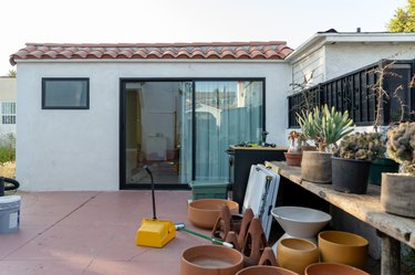cluttered outdoor patio