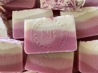 soap bars in pink and white patterns