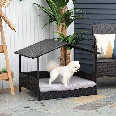pawhut rattan indoor outdoor dog houses