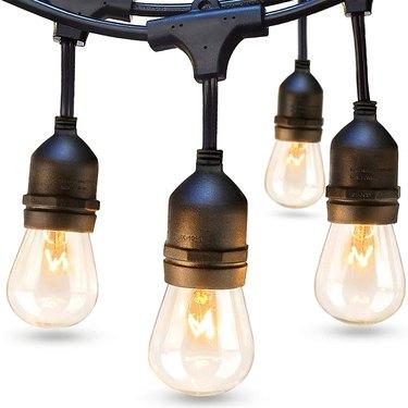 solar powered edison bulb string lights