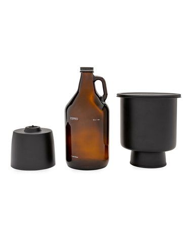 cold brew kit with growler and two black parts
