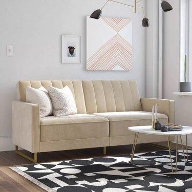 Cream velvet sofa bed