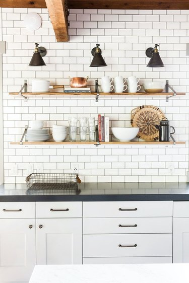 modern kitchen with black countertops
