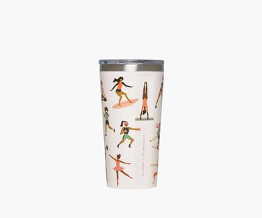 tumbler with illustrations of figures doing different sports