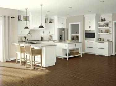 Kitchen with white KraftMaid cabinets