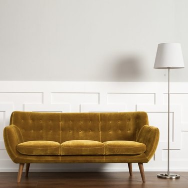 Antique gold tufted velvet couch