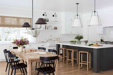 modern rustic dining room and open kitchen layout