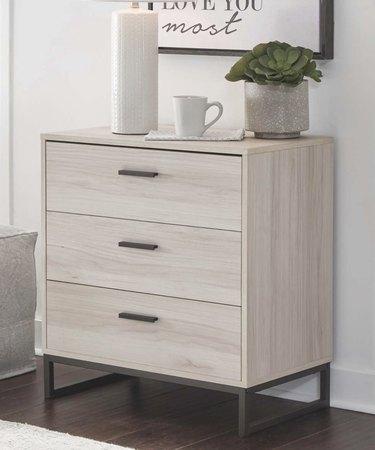 Gray and Black Three Drawer Dresser