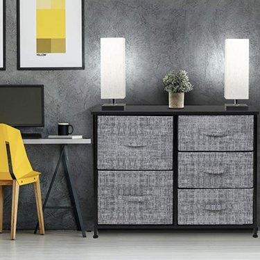 Gray 5 drawer dresser