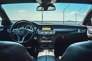 black car interior on summer day