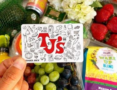 trader joe's gift card and items