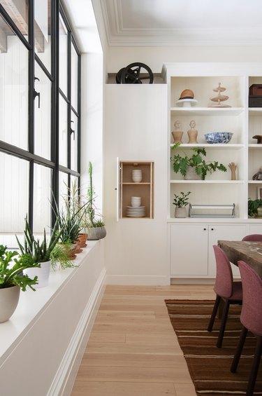 Kitchen shiplap on shelves
